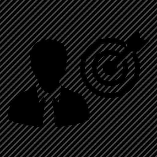 bullseye, business, businessman, dartboard, goal, man, target icon