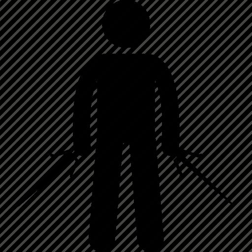 holding, japan, japanese, man, ninja, sai, weapon icon