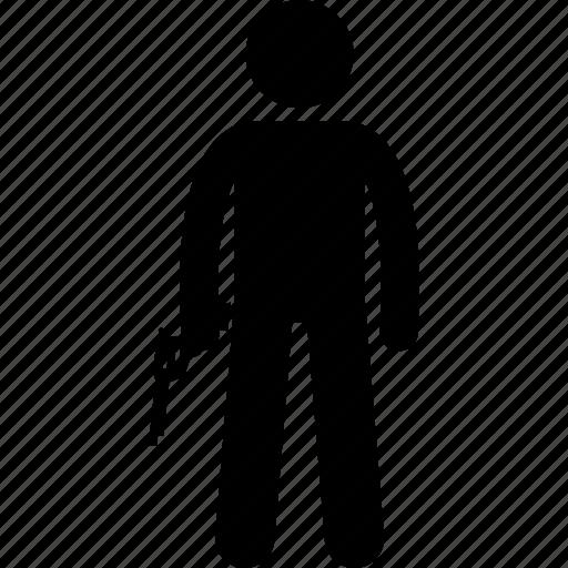 gun, holding, man, person, pistol, weapon icon
