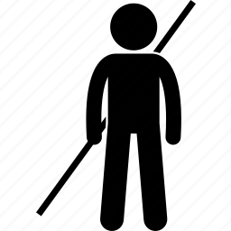 bo, holding, long, man, staff, stick, weapon icon