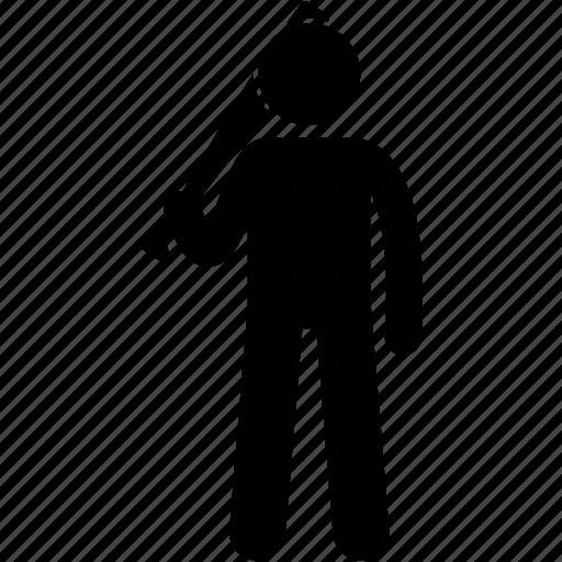 baseball, bat, holding, man, people, stick, weapon icon