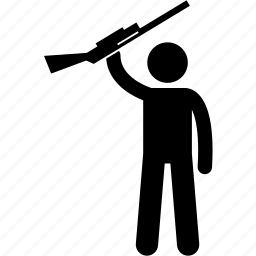 gun, holding, man, rebel, rifle, shotgun, weapon icon