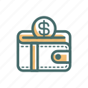 accountant, business, coin, management, money, shop, wallet icon