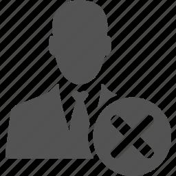businessman, cancel, close, delete, manager, user icon
