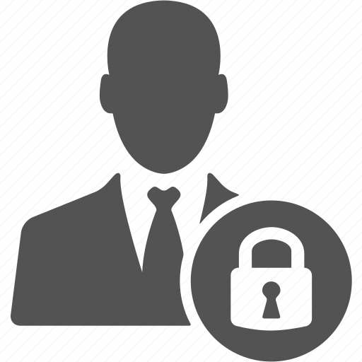 account, avatar, businessman, lock, manager, profile icon