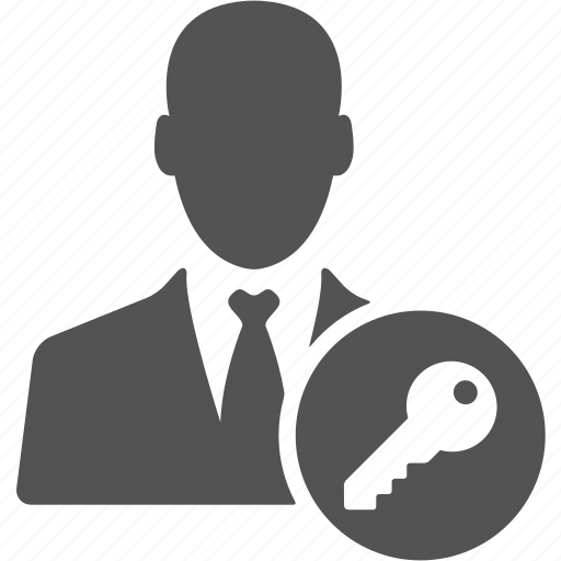 account, avatar, businessman, key, manager, user icon