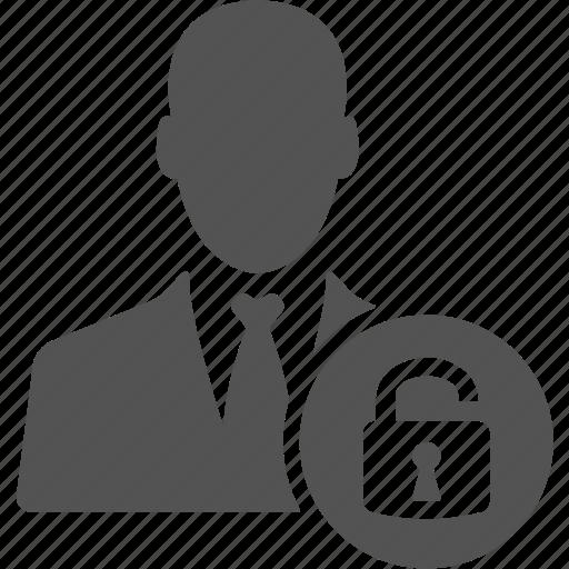 account, avatar, businessman, lock, manager, user icon