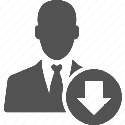 account, avatar, businessman, down, manager, user icon