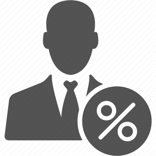 account, avatar, businessman, manager, percent, user icon