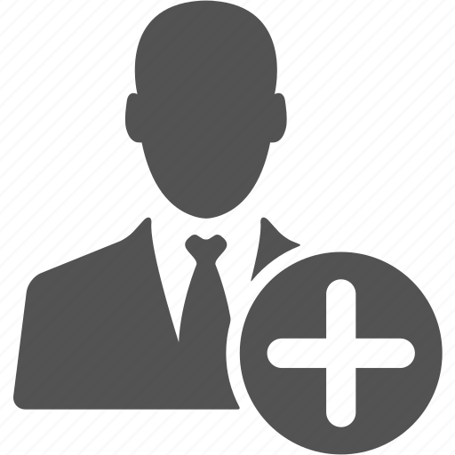 account, add, avatar, businessman, manager, plus, user icon