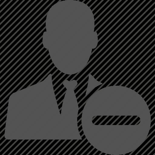 account, avatar, businessman, manager, minus, user icon