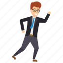 businessman getting late, hurry to work, late for office, manager in rush, running manager icon