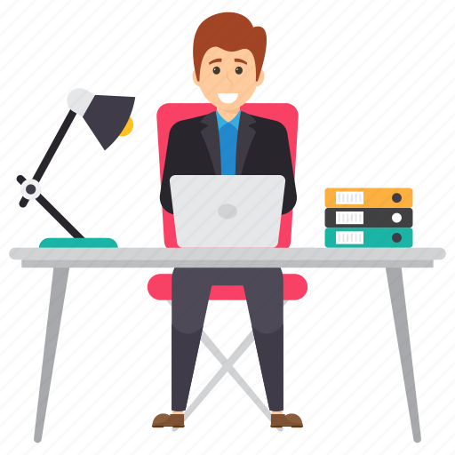 employee working, freelancer, manager desk, manager working, office desk icon