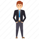 handsome cartoon, happy man standing, male avatar, man in suit, standing manager icon