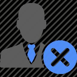 businessman, cancel, close, delete, exit, manager, remove icon