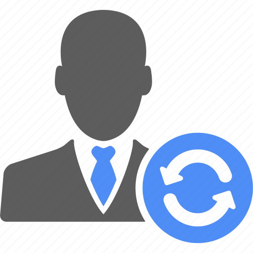 business, businessman, manager, refresh, reload, user icon