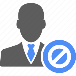 ban, business, businessman, manager, people, user icon