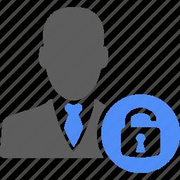 business, businessman, lock, man, manager, profile, unlock icon