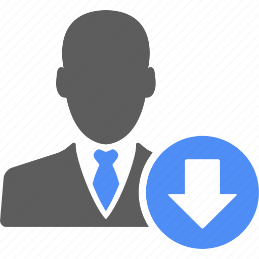 account, arrow, avatar, businessman, down, manager, user icon