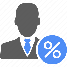 account, businessman, manager, percent, profile, user icon