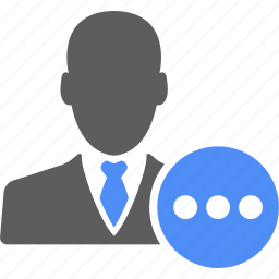 account, avatar, businessman, manager, message, talk, user icon