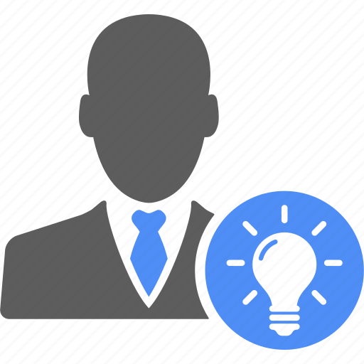 bulb, business, businessman, idea, man, manager, user icon