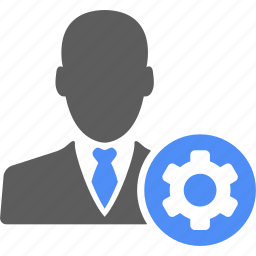 businessman, gear, manager, option, preference, setting, user icon