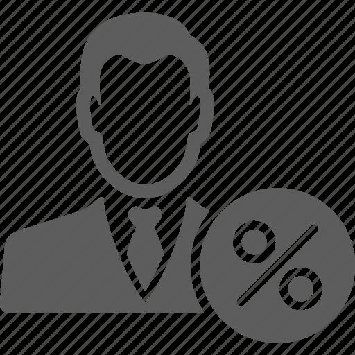 avatar, businessman, manager, percent, statistics icon
