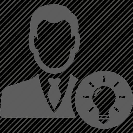 avatar, bulb, businessman, idea, man, manager, person icon