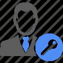 avatar, manager, key, lock, man, people, unlock