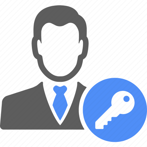 avatar, key, lock, man, manager, people, unlock icon