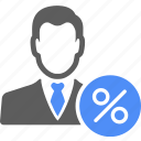 avatar, man, manager, percent icon