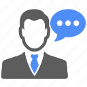 avatar, business, chat, man, manager, status, talk icon