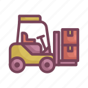 cardboard, forklift, manufacturing icon