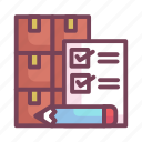 cardboard, inventory, list, manufacturing, pencil icon