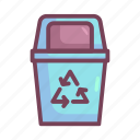 trash bin, manufacturing, recycling icon