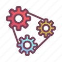 belt, manufacturing, setting, timing icon