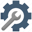 factory, industries, manufacturing, mass production, setting, tool, wrench inside gear icon