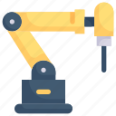 factory, industrial robot drill, industries, machine, manufacturing, mass production, robotic icon