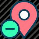 location, map, pin, marker, minus, remove