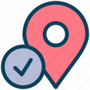 location, map, pin, marker, check, right