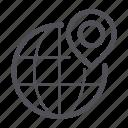 global, globe, pin icon