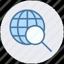 earth, globe, magnifier, search, search engine, seo, world icon