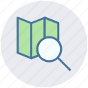 gps, location, map, navigation, paper, place, search icon