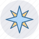 arrow, compass, direction, map, navigation, north star, star icon