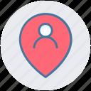 location, man, man location, map pin, person location, pin, user icon