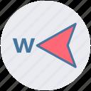 arrow, compass, direction, gps, map, navigation, west