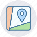 destination, direction, gps, map, road, sign, waymark icon