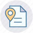 document, file, location, map pin, page, paper map, plan icon