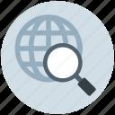 earth, explore, globe, magnifier, search, search engine, world icon